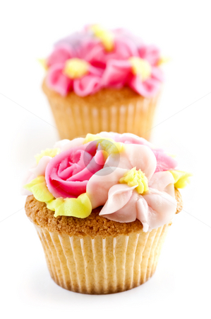 Cupcakes stock photo, Row of tasty cupcakes with icing flowers by Elena Elisseeva