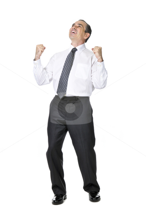 Business man in suit stock photo, Happy celebrating business man in suit isolated on white background by Elena Elisseeva
