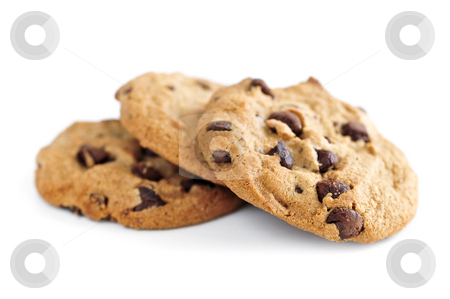 Chocolate chip cookies stock photo, Tall stack of chocolate chip cookies isolated on white background by Elena Elisseeva