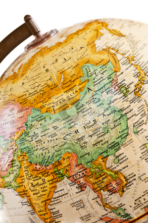 Globe - Asia stock photo, Part of a globe with map of Asia by Elena Elisseeva