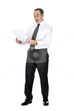 Scared businessman stock photo, Business man in suit reading papers with expression of horror by Elena Elisseeva