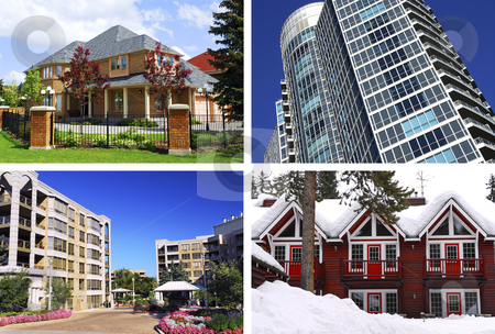 Real estate collage stock photo, Collage of different types of real estate by Elena Elisseeva