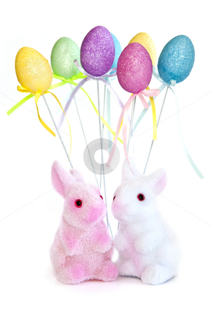 Easter bunny toys stock photo, Cute Easter bunny toys and balloons isolated on white background by Elena Elisseeva