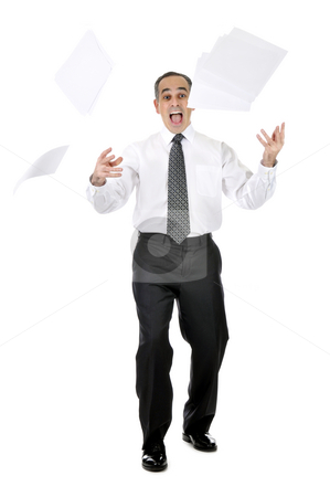 Scared businessman stock photo, Business man in suit throwing papers with expression of horror by Elena Elisseeva