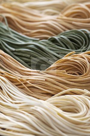 Tagliolini pasta stock photo, Assorted bundles of colorful raw tagliolini pasta noodles by Elena Elisseeva