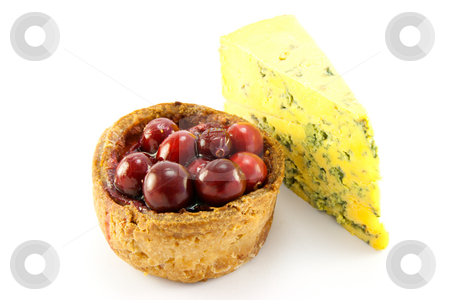 Pork Pie with Blue Cheese stock photo, Single pork with cranberries on the top with a slice of blue cheese, with clipping path on a white background by Keith Wilson