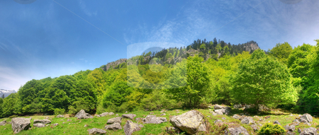 Mountain panoramic landscape stock photo, Beautiful mountain panoramic landscape in the French pyrenees hdr processed by Laurent Dambies