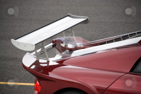 Custom Racing Spoiler stock photo, Closeup detail of a custom racing spoiler on the rear of a sports car. by Todd Arena