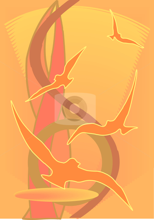 Abstract Sunset with Birds stock vector clipart, Vector Illustration of an abstract background in sunset orange colors with birds in silhouette. by Robert Gebbie
