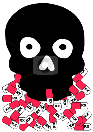 Bad Pill stock vector clipart, Vector Illustration of a black skull with prescription capsules around the base. by Robert Gebbie