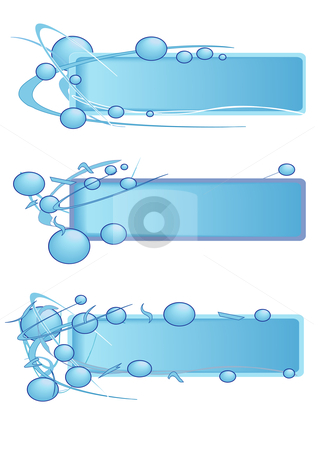 Bead Banner Frames Blue stock vector clipart, Vector Illustration of blank banners with bubbles in blue. by Robert Gebbie