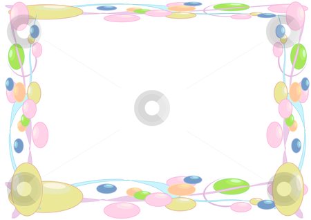 Bead Border stock vector clipart, Vector Illustration of soft colored beads and streamers framing a page. by Robert Gebbie