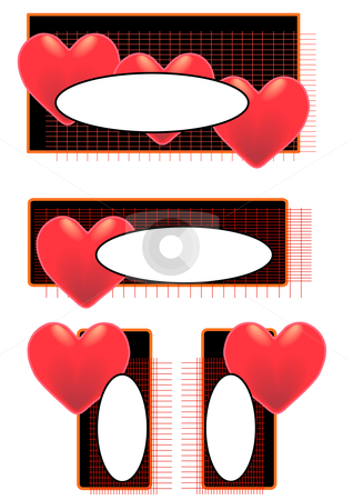 Big Heart Tags Oval stock vector clipart, Vector Illustration of red hearts and ovals on tags with blank space for text. by Robert Gebbie