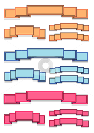 Blank Colored Banner Ribbons stock vector clipart, Vector Illustration of several different colored blank banners. by Robert Gebbie