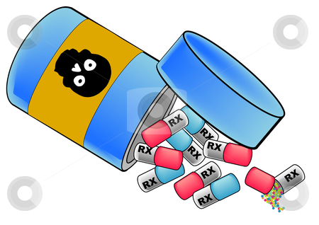 Bottle of Pills stock vector clipart, A vector illustration of pills falling out of a pill bottle with a skull on the bottle by Robert Gebbie