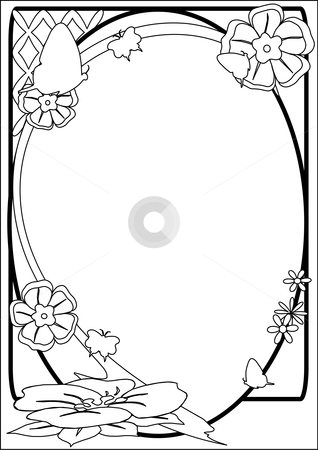 Butterfly and Flower Border B stock vector clipart, A vector illustration of a  black and white flower border with a butterfly by Robert Gebbie