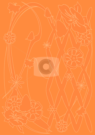 Butterfly and Flower Tan Background stock vector clipart, A vector illustration of flowers and a butterfly on a tan background by Robert Gebbie