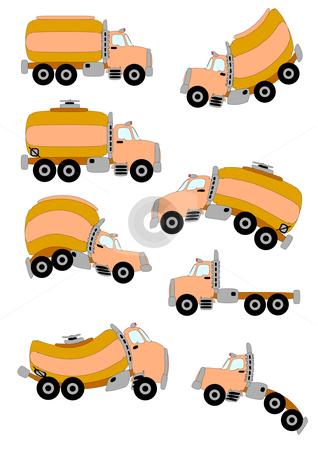 Cartoon Trucks stock vector clipart, Three types of illustrated cartoon trucks in vector format; straight and warped. by Robert Gebbie