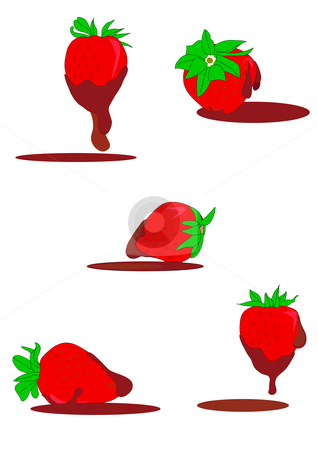 Chocolate Strawberries stock vector clipart, Vector Illustration of ripe red strawberries dripping with chocolate. by Robert Gebbie