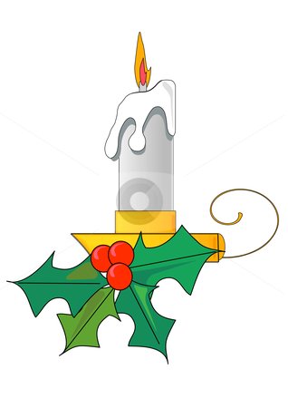 Christmas Candle and Holly stock vector clipart, Vector Illustration of a lit white candle with a flame and a sprig of holly. by Robert Gebbie