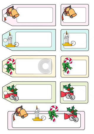 Christmas Tags stock vector clipart, Vector Illustration of various seasonal gift tags and labels. by Robert Gebbie