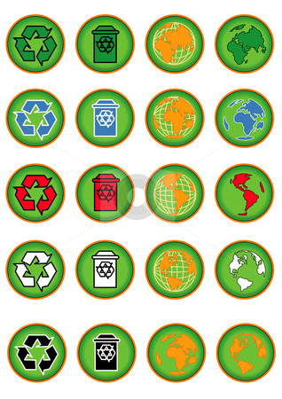 Conservation Buttons Green stock vector clipart, Vector Illustration of a group of colored web buttons with green and environmental symbols. by Robert Gebbie