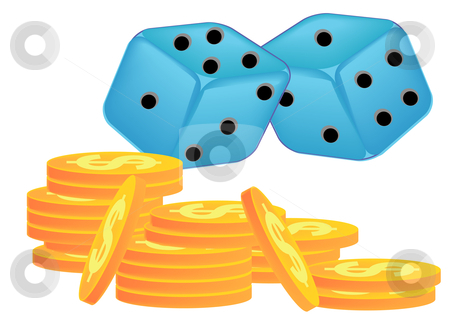 Dice Game stock vector clipart, Vector illustration of two blue dice with black dots and several stacks of gold coins by Robert Gebbie