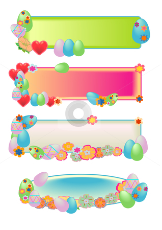 Easter Egg Banners stock vector clipart, Vector Illustration of Easter eggs, pastel flowers and hearts. by Robert Gebbie