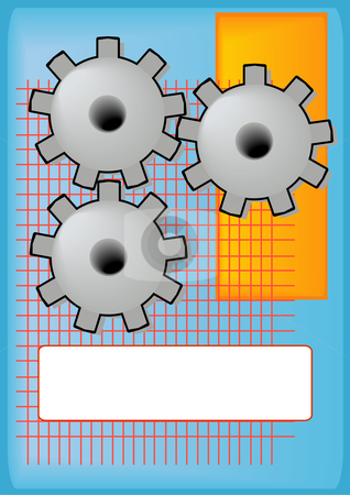 Engineering Gears Background stock vector clipart, Vector Illustration of grinding gears with a blank tag for text. by Robert Gebbie
