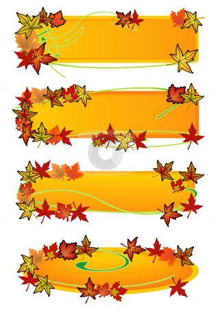 Fall Leaf Banners stock vector clipart, Vector Illustration of colorful autumn leaves swirling along banners with room for text. by Robert Gebbie
