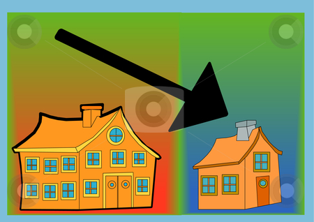 Down Sizing stock vector clipart, Vector illustration of one large building, one small building and a black arrow pointing downwards by Robert Gebbie