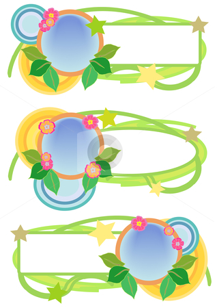Floral Banner Trio stock vector clipart, Vector Illustration of pink, green, blue and yellow floral tag trio by Robert Gebbie