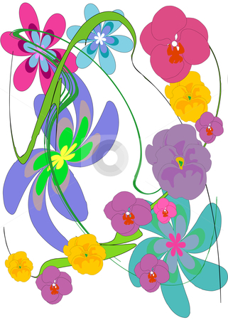 Flower Tango stock vector clipart, Vector illustration of a colorful mixture of various flowers with a green swirl. by Robert Gebbie