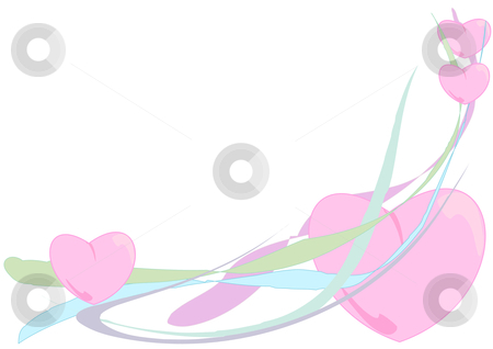 Four Hearts stock vector clipart, Vector Illustration of fluffy pink hearts floating down colorful waving ribbons. by Robert Gebbie