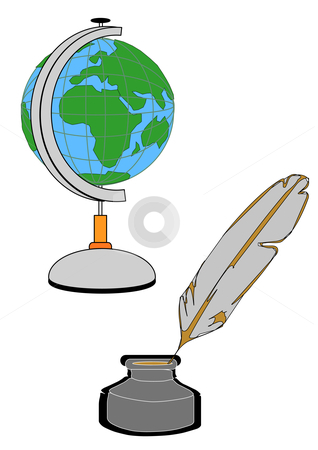 Globe, Pen and Well stock vector clipart, Vector Illustration of a globe on a stand with a quill and ink well. by Robert Gebbie