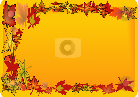 Golden Leaf Background Border stock vector clipart, Vector Illustration of colorful autumn leaves swirling along a framed text area by Robert Gebbie