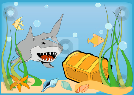 Guarded Treasure stock vector clipart, A gold treasure chest on the bottom of the ocean is guarded by a large grey shark. Vector Illustration. by Robert Gebbie