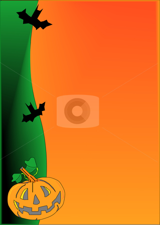 Halloween Presentation Background stock vector clipart, Vector illustration of a Halloween jack-o-lantern and bats background. by Robert Gebbie