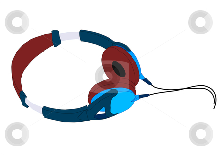Headphones stock vector clipart, Graphic vector illustration of a pair of headphones. by Robert Gebbie
