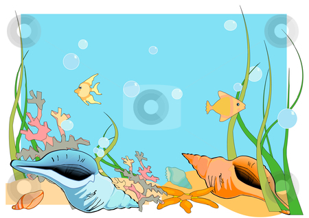 Ocean Floor stock vector clipart, Vector Illustration of an ocean floor, with shells and fish and coral. by Robert Gebbie