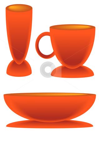 Orange Cup Bowl Glass stock vector clipart, Vector Illustration of an orange cup bowl and glass. by Robert Gebbie