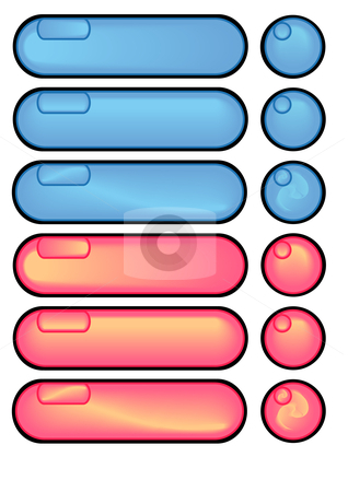 Red and Blue Long Buttons stock vector clipart, Vector Illustration of a group of colored web buttons. by Robert Gebbie
