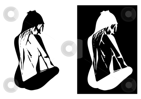 Reflection Negative stock vector clipart, A vector illustration of a sitting woman along with the negative view by Robert Gebbie