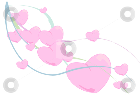 Ribbon of Hearts stock vector clipart, Vector Illustration of fluffy pink hearts floating down colorful waving ribbons. by Robert Gebbie