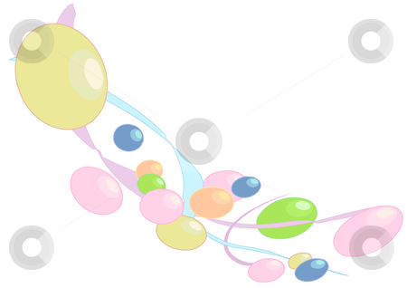 Ribbons and Beads stock vector clipart, Vector Illustration of colorful beads bouncing on ribbons. by Robert Gebbie
