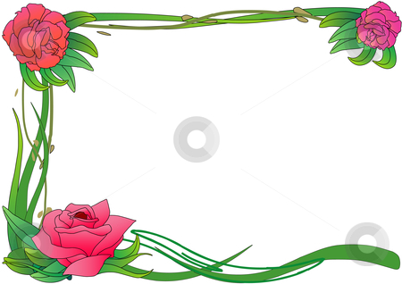 Rose Border stock vector clipart, Vector Illustration of pink roses on green vines framing a page. by Robert Gebbie