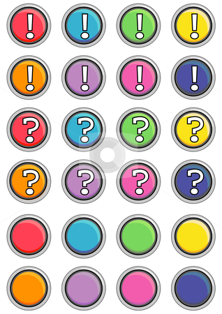 Round Black Buttons stock vector clipart, Vector Illustration of a group of colored web buttons. by Robert Gebbie