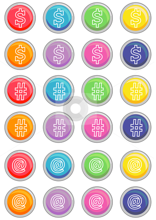 Round Web Buttons stock vector clipart, Vector Illustration of a group of colored web buttons. by Robert Gebbie