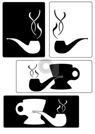 Silhouette Smoking Pipe Tags stock vector clipart, Vector Image of black and white cups and lit tobacco pipes by Robert Gebbie
