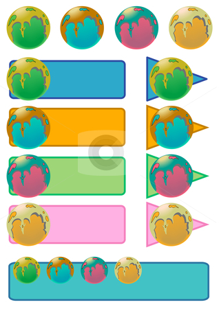 Slime Balls, Buttons and Banners stock vector clipart, Colored orbs coated in a substance placed on banners and web buttons. by Robert Gebbie